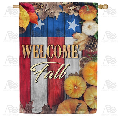 Stars And Stripes Fall Welcome Double Sided House Flag