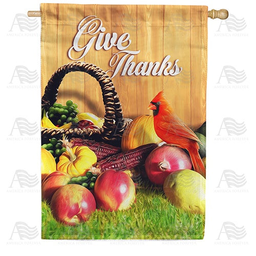 Give Thanks Cardinal Double Sided House Flag