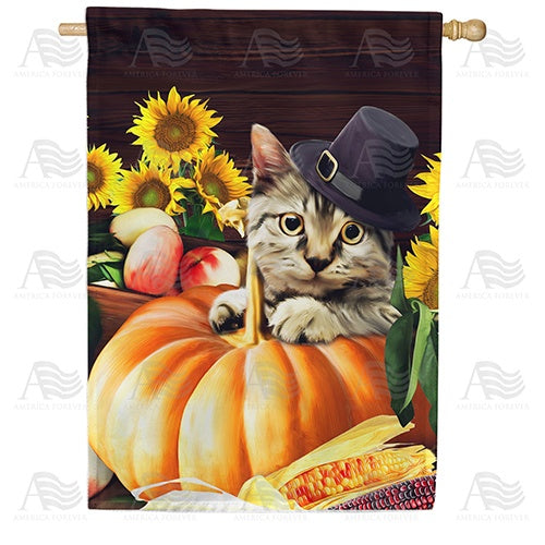 Pilgrim Cat Double Sided House Flag