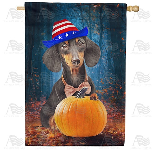 Patriotic Dachshund Double Sided House Flag