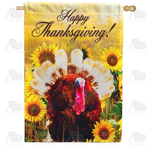 Turkey In Sunflowers Double Sided House Flag