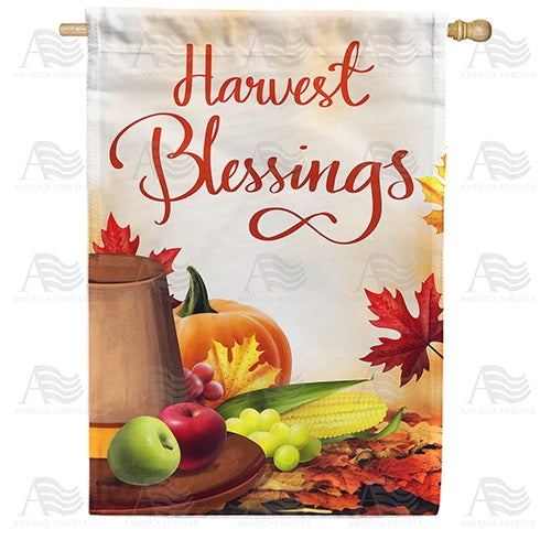 Pilgrim Hat Harvest Blessings Double Sided House Flag