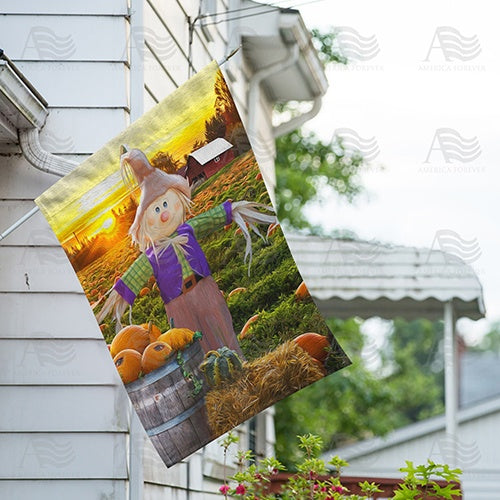 America Forever Smiling Scarecrow Double Sided House Flag Flagsrus Or Flagsrus Org