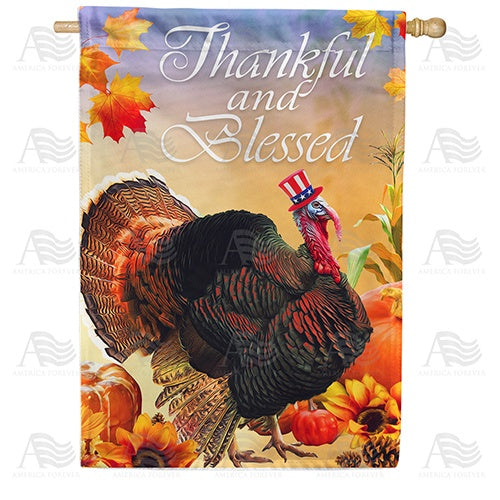Patriotic Tom Turkey Double Sided House Flag