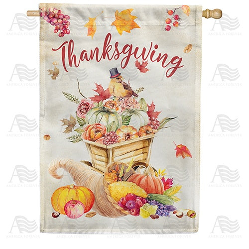 Thanksgiving Watercolor Double Sided House Flag