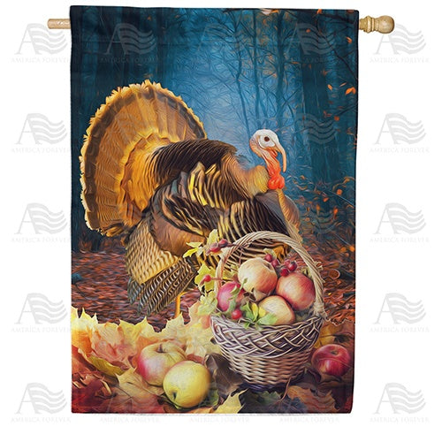 Turkey And Apple Basket Double Sided House Flag