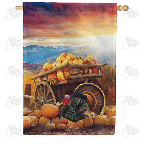 Day's End Pumpkin Harvest Double Sided House Flag