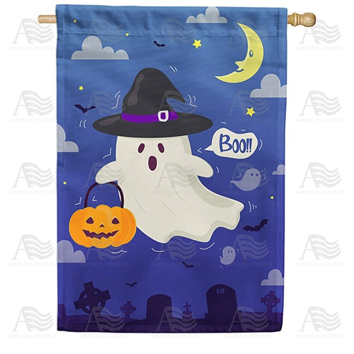 Trick Or Treat Ghost Double Sided House Flag