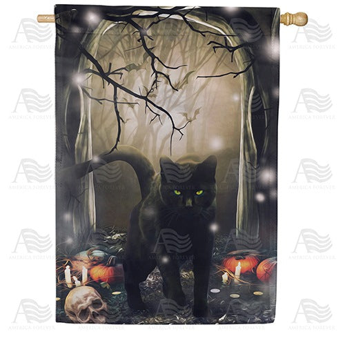Black Cat Crossing Double Sided House Flag