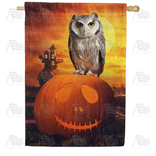 "Happy ""Owl""oween! Double Sided House Flag"