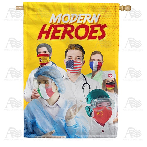 A World Of Heroes Double Sided House Flag