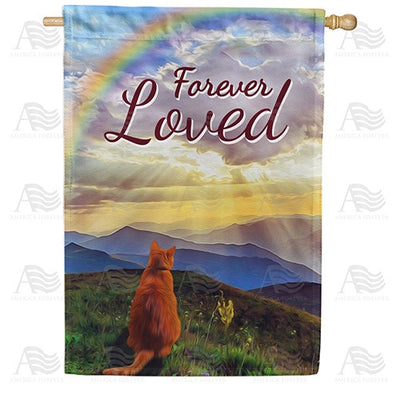 Cat Crossed Over Rainbow Bridge Double Sided House Flag