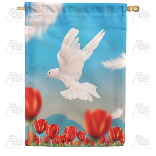 On The Wings Of A Snow White Dove Double Sided House Flag