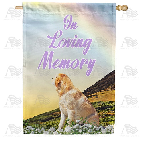 Dog Crossed Over Rainbow Bridge Double Sided House Flag