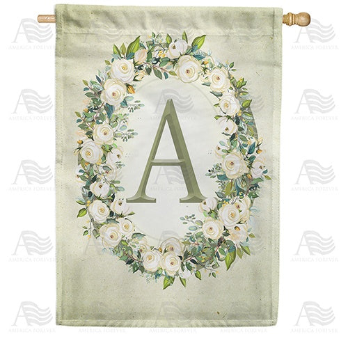 Sage Floral Monogram Double Sided House Flag