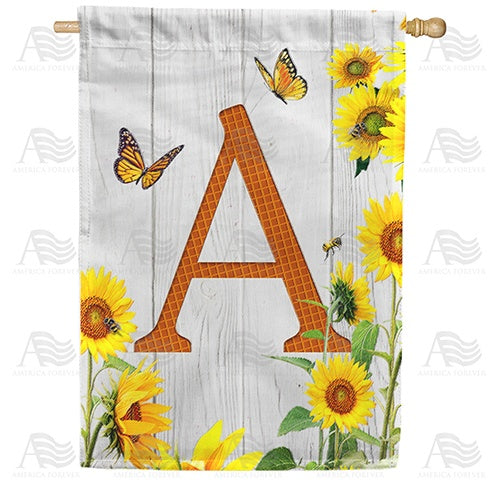 Country Sunflowers Monogram Double Sided House Flag
