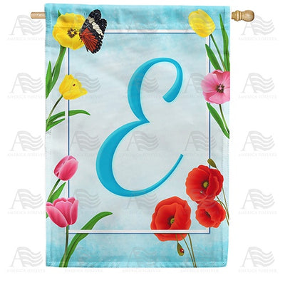 Spring Beauties Monogram Double Sided House Flag