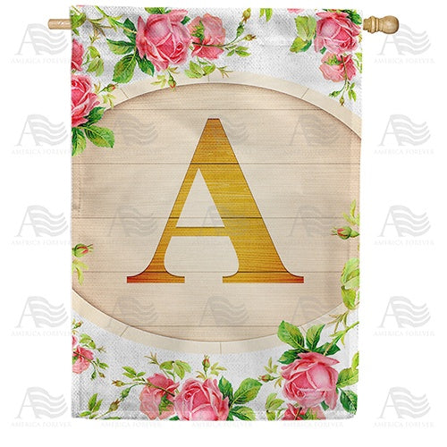 Country Roses Monogram Double Sided House Flag