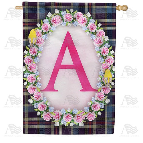 Burst Of Pink Monogram Double Sided House Flag
