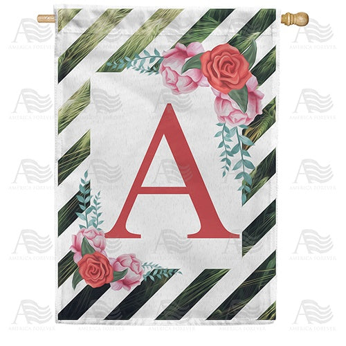 White Lattice Monogram Double Sided House Flag