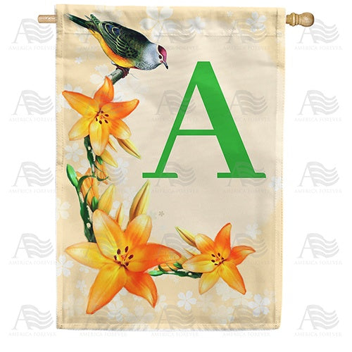 Orange Lilies Monogram Double Sided House Flag