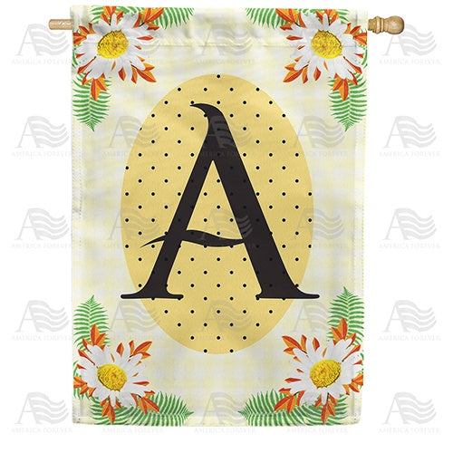 Yellow Gingham Daisies Monogram Double Sided House Flag