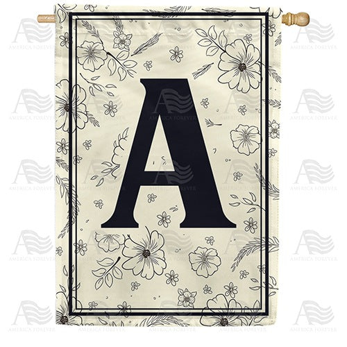 Flower Sketchings Monogram Double Sided House Flag
