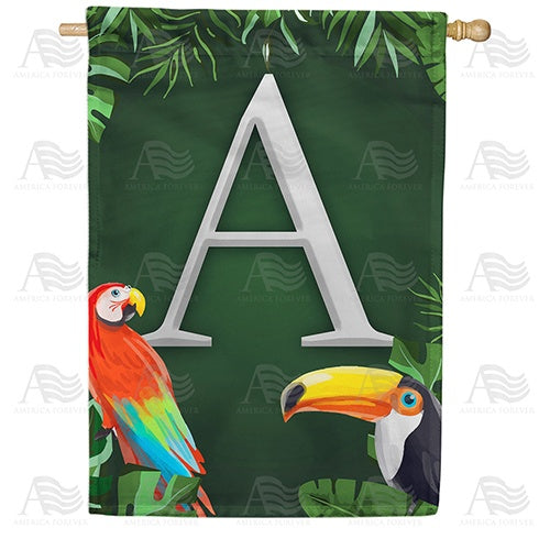 Tropical Birds Monogram Double Sided House Flag