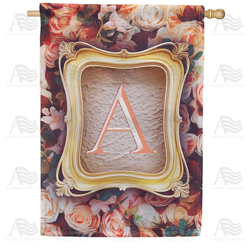 Antique Gold Frame Monogram Double Sided House Flag