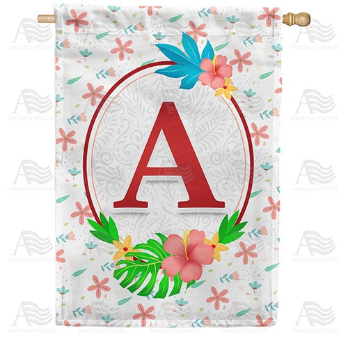 Periwinkle Petals Monogram Double Sided House Flag