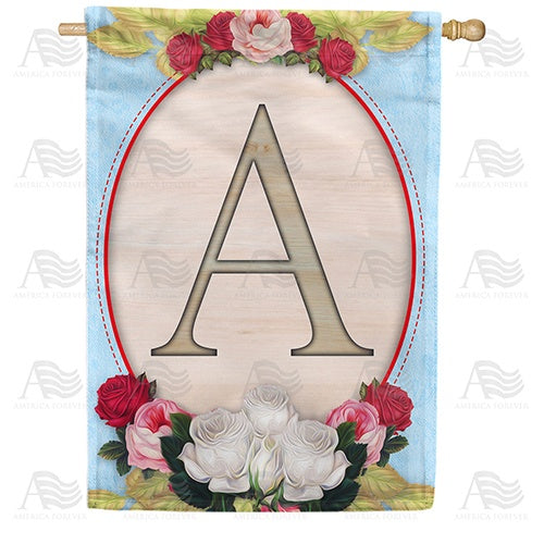 Rose Wood Monogram Double Sided House Flag