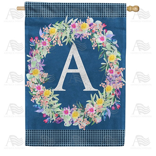 Floral Wreath Monogram Letter Monogram Double Sided House Flag