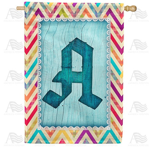 Multi Color Chevron Monogram Double Sided House Flag