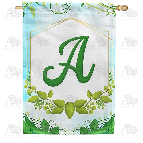 Rose Greenery Monogram Double Sided House Flag