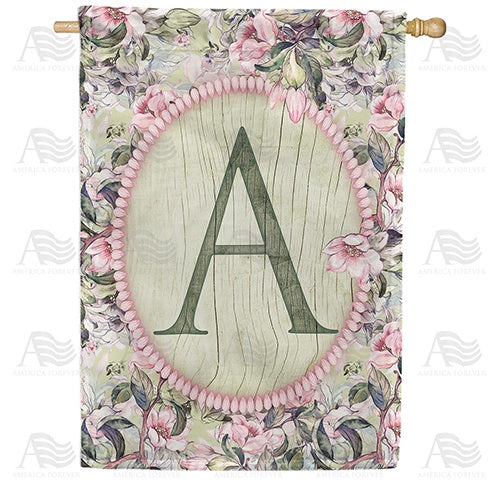 Pink Petals Monogram Double Sided House Flag
