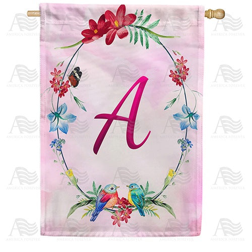 Ring Of Nature Monogram Double Sided House Flag