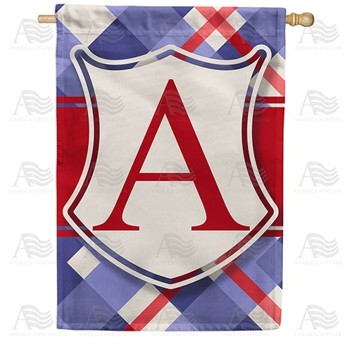 Patriotic Shield Monogram Double Sided House Flag