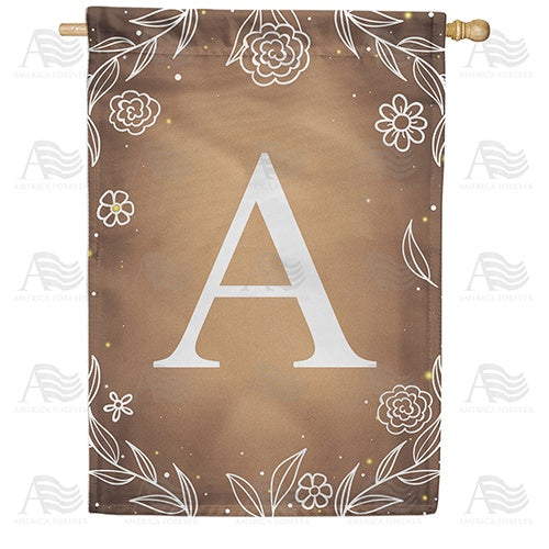 Bronze Floral Monogram Double Sided House Flag