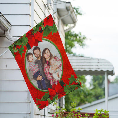 Personalized Red Poinsettia House Flag