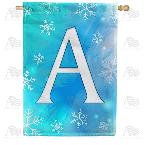 Snowflakes Monogram Double Sided House Flag