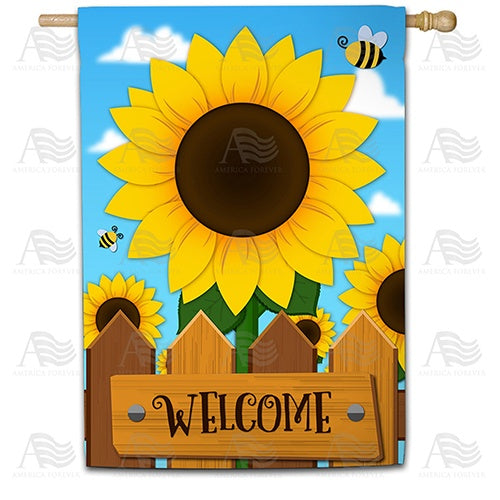 Sunflower Welcome Double Sided House Flag
