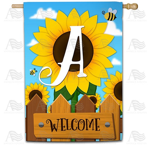 Sunflower Welcome Monogram House Flag