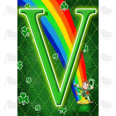 Leprechaun Rainbow Monogram House Flag