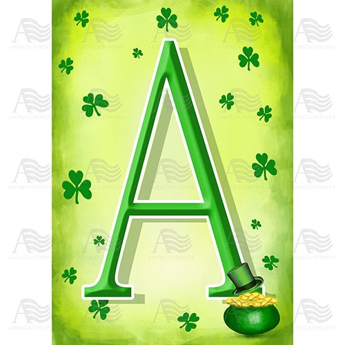 St. Patty's Pot O' Gold Monogram House Flag