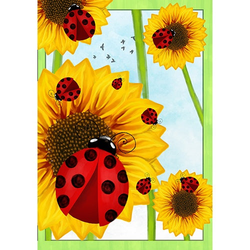 Ladybugs and Sunflowers Double Sided House Flag
