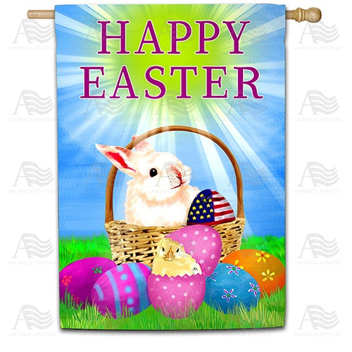 Happy Easter America Double Sided House Flag