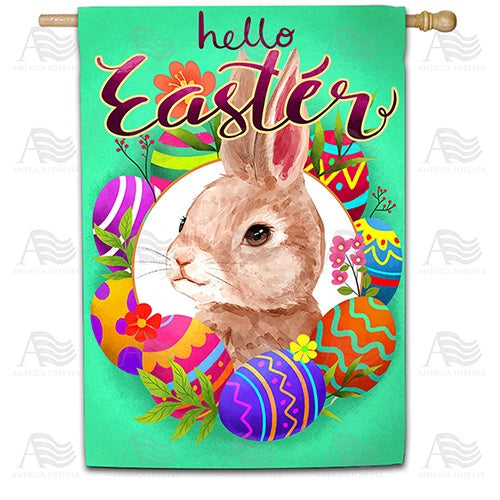 Watercolor Hello Easter Bunny Double Sided House Flag