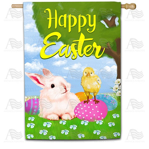 Bunny and Chick Easter Buddies Double Sided House Flag