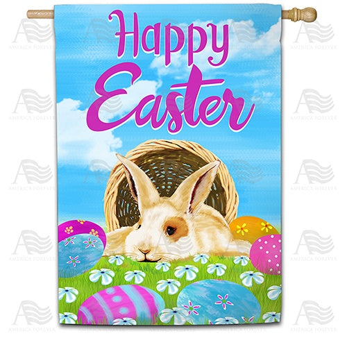 Happy Easter Basket Bunny Double Sided House Flag