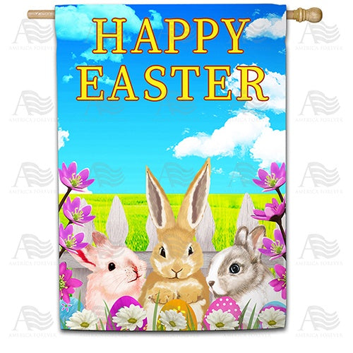 Easter Bunny Meeting Double Sided House Flag